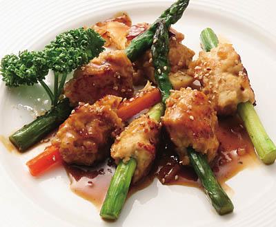 グリーンアスパラと鶏つくねの照り焼き