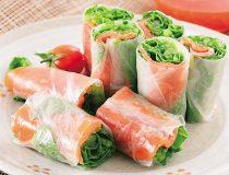 京壬生菜とサーモンの生春巻き