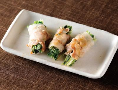 京みず菜の豚肉巻き