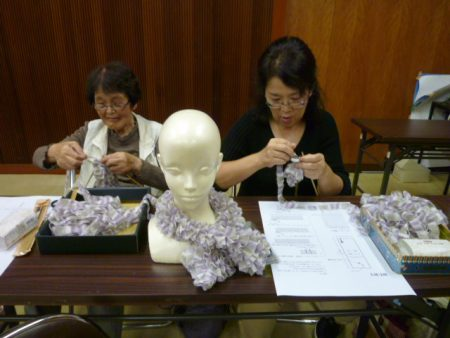 手編みマフラー出来栄えに満足