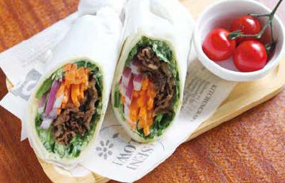 京壬生菜と牛肉のラップサンド