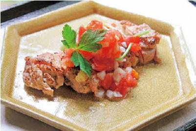 鶏の塩麹焼きトマト酢ソース